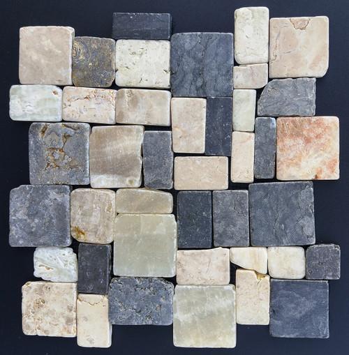 Tumbled Marble Mosaic Parquet Metro 10.5x10.5 Seamless Interlocking (TOETMMPARMET105105)