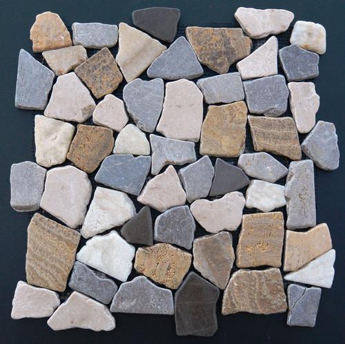 Tumbled Marble Mosaic Prism Marble 12x12 Seamless Interlocking (TOETMMPRIMAR1212)