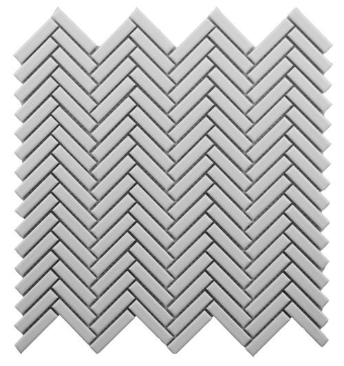 CC Mosaics Plus+ White Bright Herringbone Mosaic 12x12 (UFCC128-12M)