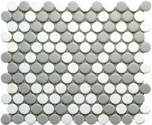 CC Mosaics - Matte Gray and White Penny Round Mosaic 9x10 (UFCCGRW-12M)