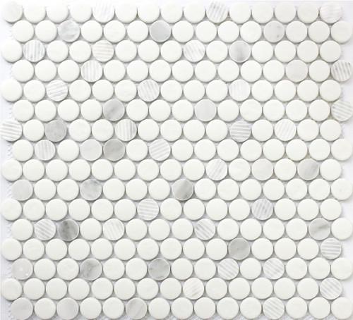 Carrara Penny Round 12x12 Mosaic (FWMGST1002)