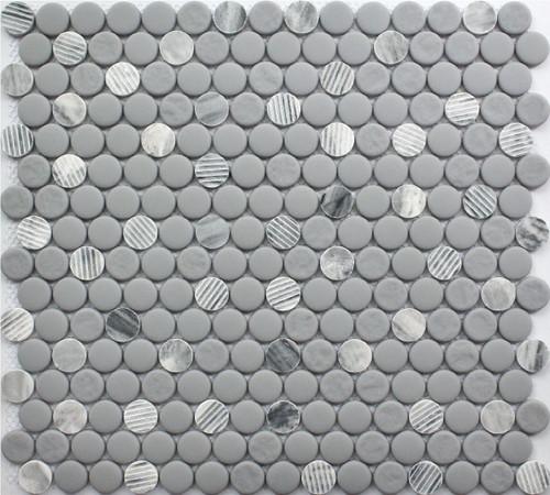 Gray Granite Penny Round 12x12 Mosaic (FWMGST2009)