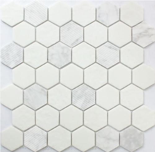 Carrara Hexagon 12x12 Mosaic (FWMGST1001)