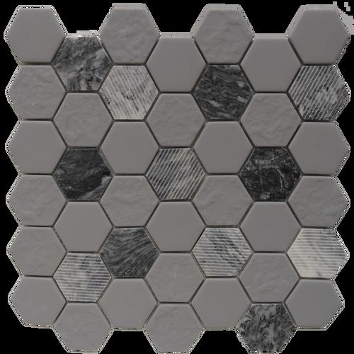 Gray Granite Hexagon 12x12 Mosaic (FWMGST2005)
