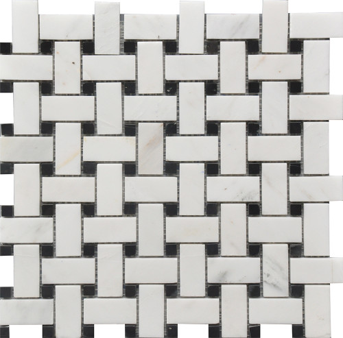 Black and White Basket Weave Marble Mosaic 12x12 (USTMBSWI003)