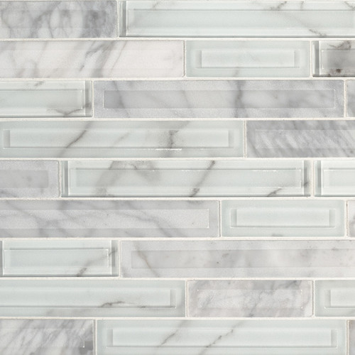 Blocki Blanco Interlocking Patterned Mosaic (SMOT-SGLSIL-BLOBLA8MM)