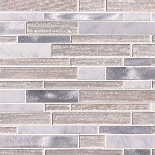White Wave Interlocking Patterned Mosaic (SMOT-SGLSMTIL-WHTWA4MM)