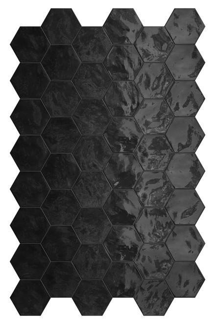 Hexa Black Swan Glossy Hexagon 6x7 Wall Tile (HXBSHEXGL)