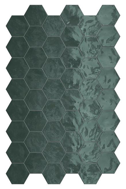 Hexa Green Echo Glossy Hexagon 6x7 Wall Tile (HXGEHEXGL)