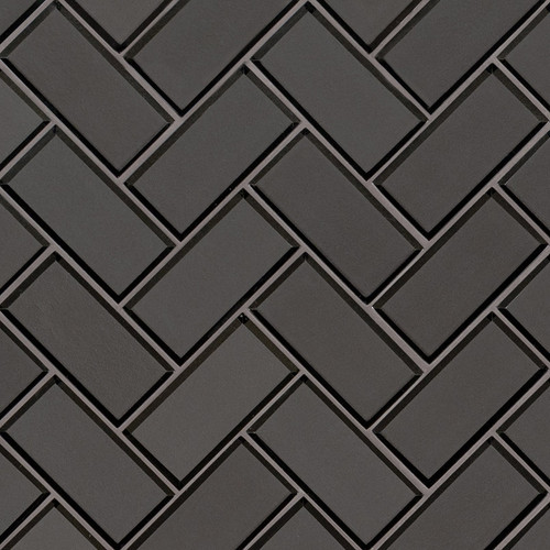 Metallic Gray Herringbone Mosaic (SMOT-GLS-MEGRBEHB8MM)
