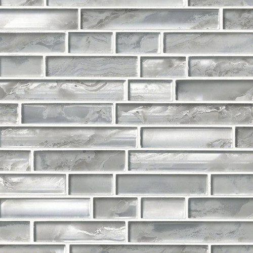 Silver Canvas Interlocking Patterned Mosaic (SMOT-GLSIL-SILCAN8MM)