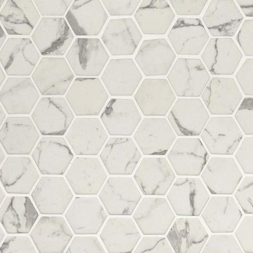 Statuario Celano Hexagon Mosaic (SMOT-GLS-STACEL6MM)