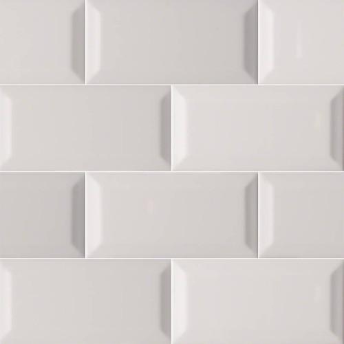Domino Gray Glossy Beveled Subway Tile 3x6 (NGRAGLO3X6BEV)