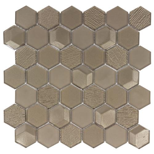 """Monet Magic Champagne 2"""" Hexagon Mosaic (ANTHMMGH)"""