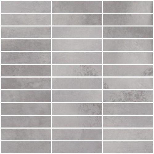 Metal Max 2.0 Medium Grey Porcelain Mosaic 1x4 on 12x12 Sheet (HMM02F2398-H)