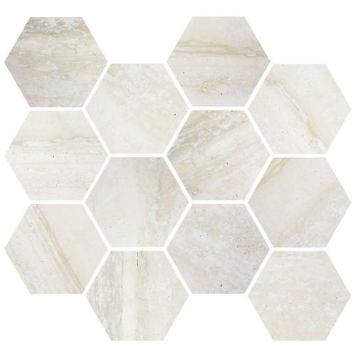 Nova Bone Matte / Polished Blend Hex Mosaic 3.25 (ZZ6388ASQQ054HP)