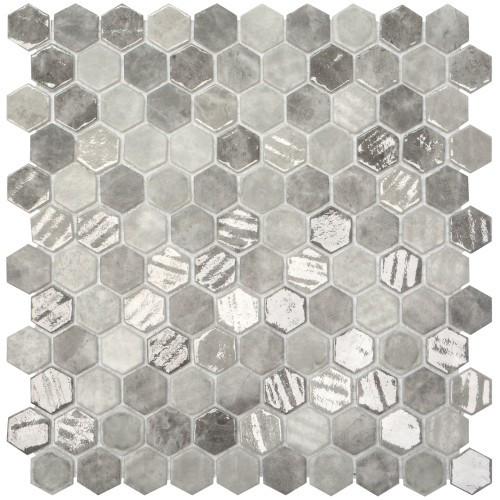 "Onix Hex Blends Gray Silver Mix Malla 1"" Hex Mosaic on 12x12 Sheet (203265)"