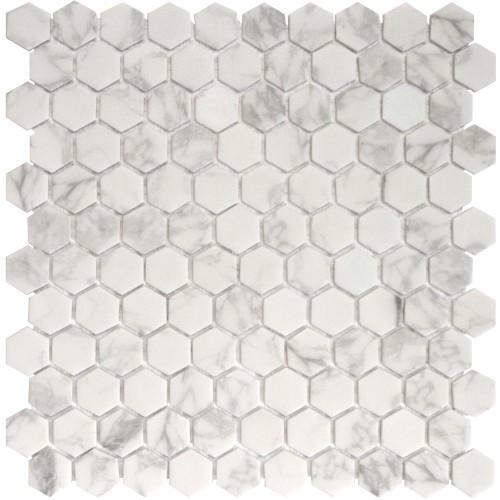 "Onix Hex Blends Statuario Malla 1"" Hex Mosaic on 12x12 Sheet (203246)"
