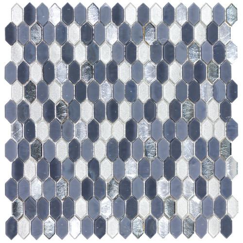 Royal Gems Regal Sapphire 0.6x1.2 Picket Mosaic on 12x12 Sheet (ANTHRGRS)