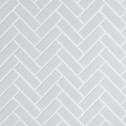 Retro Gray Glossy Herringbone Mosaic (SMOT-PT-RETGRA-HB)