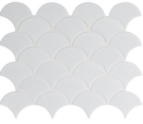 Retro Gray Glossy Scallop Mosaic (SMOT-PT-RETGRA-SCALOP)