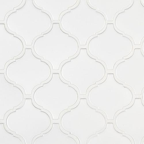 Retro Bianco Matte Arabesque Mosaic (SMOT-PT-RETBIA-ARABESQUEM)