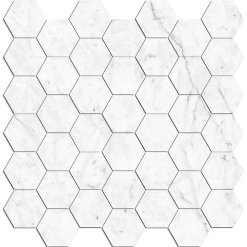 "Bianco Carrara Honed 2"" Hex Mosaic (BIANMOS2HEXHO)"