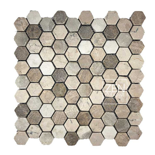 "Mini Hexagon Beach Mix 1"" Mosaic on 11x11 Sheet (ZPMH001)"
