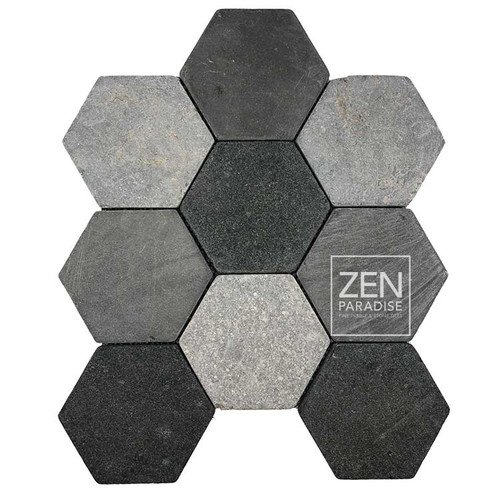 "XL Hexagon Mountain Mix 4"" Mosaic on 11.5x12 Sheet (ZPXH002)"