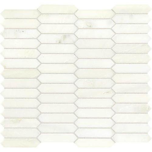 Candora Vestal White Polished Marble Linear Hex Mosaic (M046LINHEXMS1L)