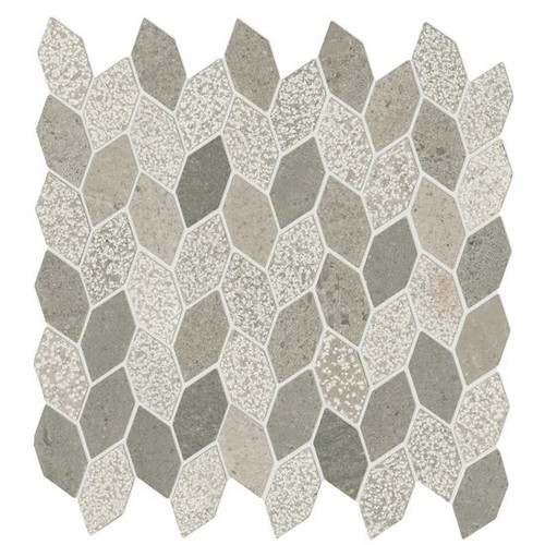 Candora Demure Gray Mixed Finish Marble Linear Leaf Mosaic (M053LINLEAFMS1P)