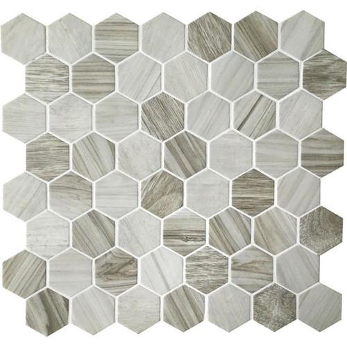 "Crosswood Seagull 1.5"" Glass Hexagon Mosaic (CR9515HEXMS1P)"