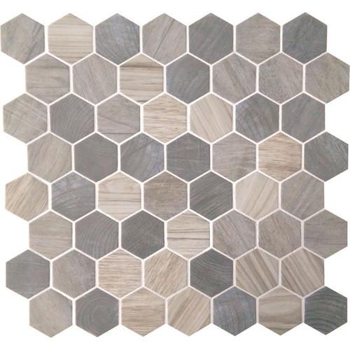 "Crosswood Pelican 1.5"" Glass Hexagon Mosaic (CR9615HEXMS1P)"