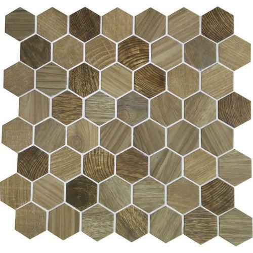 "Crosswood Sandpiper 1.5"" Glass Hexagon Mosaic (CR9715HEXMS1P)"