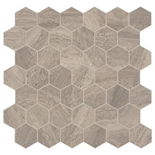 """Presario Reverent Taupe Honed 2"""" Hexagon Mosaic (M0222HEXMS1U)"""