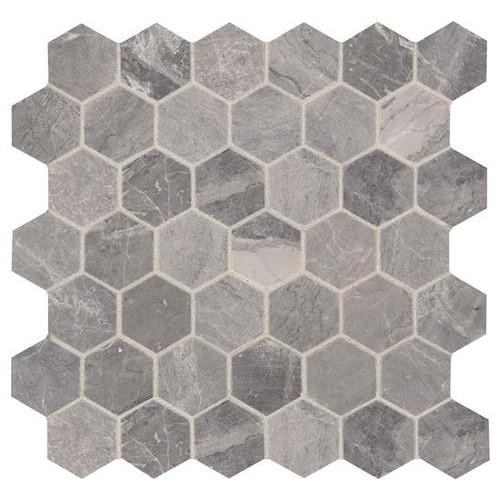 "Presario Meta Silver Honed 2"" Hexagon Mosaic (M0232HEXMS1U)"