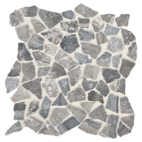 Presario Meta Silver Tumbled Pebble Mosaic (M023RIVRPEBMS1P)