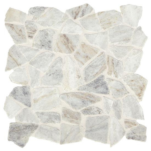 Presario Lumen White Tumbled Pebble Mosaic (M024RIVRPEBMS1P)