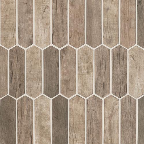 Driftwood Picket Patterned Mosaic (SMOT-GLSPK-DRIFT6MM)