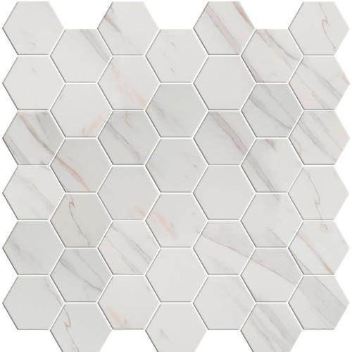 Pietra Calacatta Matte Hexagon Mosaic 2x2 (NCAL2X2HEX-N)