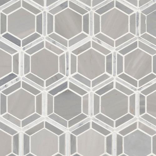 Hexagono Grigio Polished Mosaic (SMOT-HEXGON-GRIGIOP)