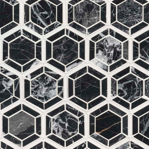 Hexagono Nero Polished Mosaic (SMOT-HEXGON-NEROP)