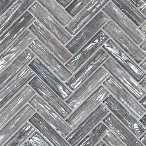 Shimmering Silver Herringbone Mosaic (SMOT-GLS-SHISLV8MM)