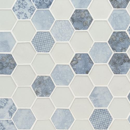 Vista Azul Hexagon Mosaic (SMOT-GLS-VISAZU6MM)