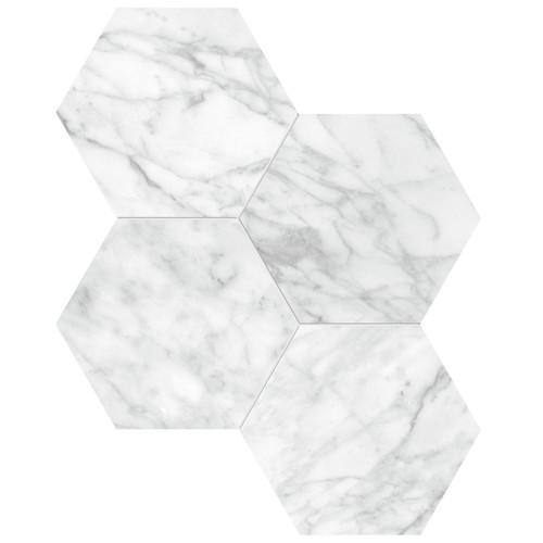"La Marca Carrara Gioia Polished 6"" Hexagon Mosaic (4501-0325-0)"
