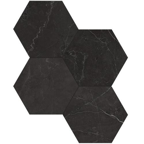 "La Marca Nero Venato Honed 6"" Hexagon Mosaic (4501-0330-0)"