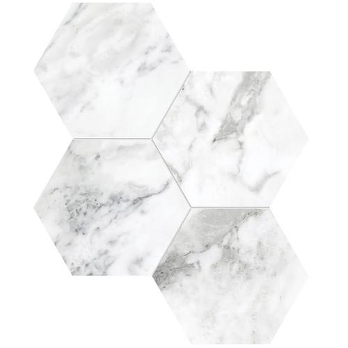 "La Marca Arabescato Honed 6"" Hexagon Mosaic (4501-0331-0)"