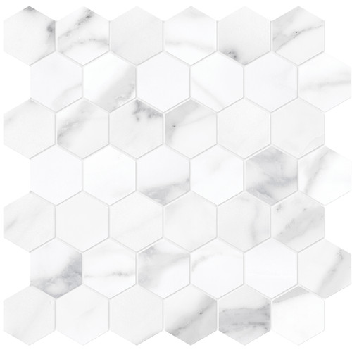 "La Marca Statuario Nuovo Polished 2"" Hexagon Mosaic (4501-0347-0)"