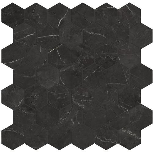 "La Marca Nero Venato Honed 2"" Hexagon Mosaic (4501-0348-0)"