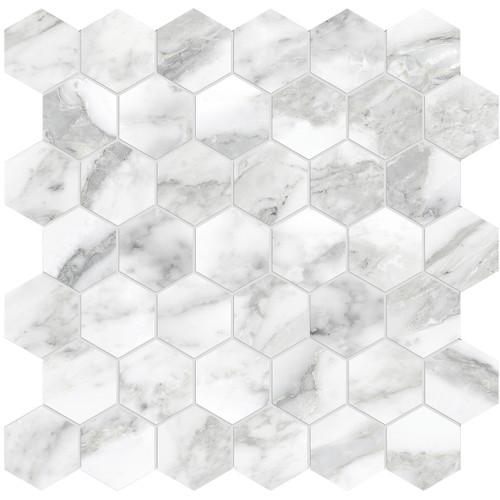 "La Marca Arabescato Honed 2"" Hexagon Mosaic (4501-0349-0)"